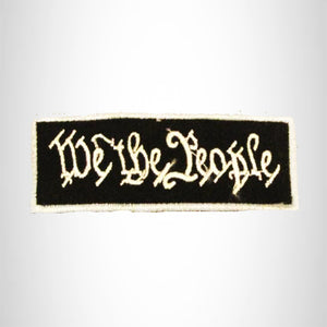 We the People White on Black with Silver Boarder Small Patch Iron on for Biker Vest SB765