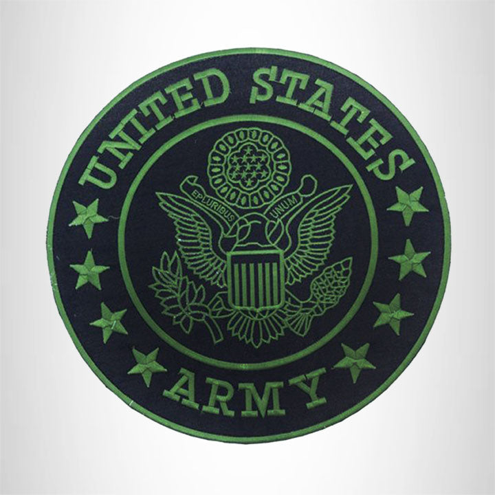 US Army Center Patch Circle United States Army Black w/ Green 12
