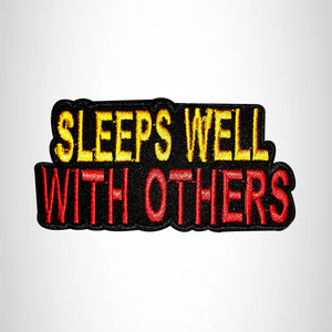 SLEEPS WELL WITH OTHERS Small Patch Iron on for Vest Jacket SB669