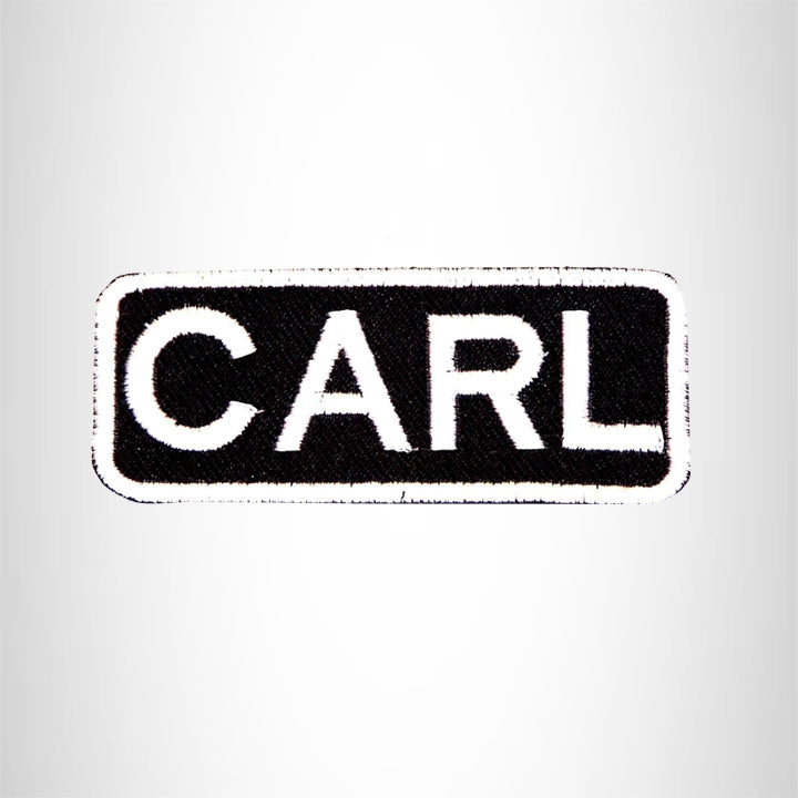 CARL White on Black Iron on Name Tag Patch for Biker Vest NB205