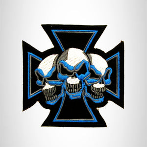 Blue and White Maltese cross with Three Skulls Small Patch Iron on for Biker Vest SB753