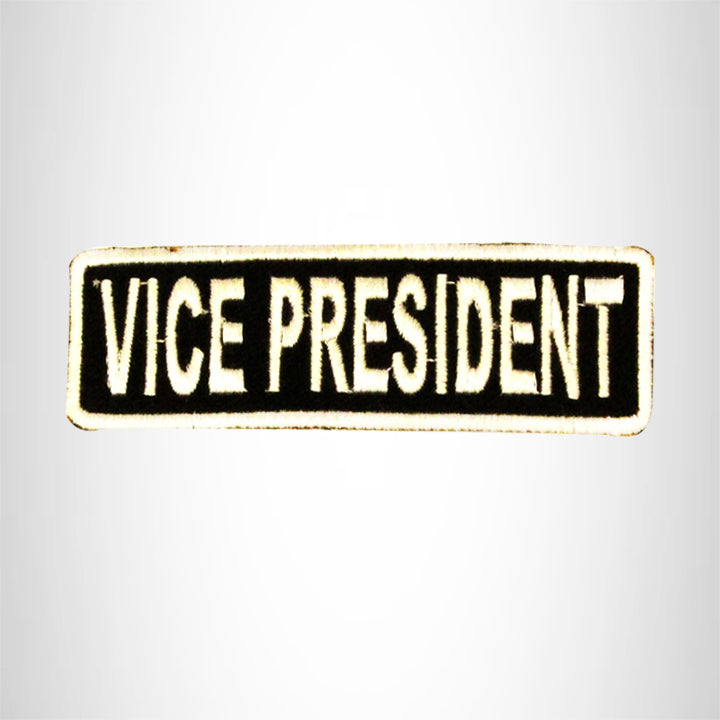 VICE PRESIDENT White on Black Small Patch Iron on for Biker Vest SB706