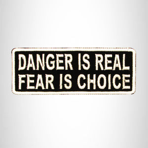 DANGER IS REAL White on Black Small Patch Iron on for Biker Vest SB721