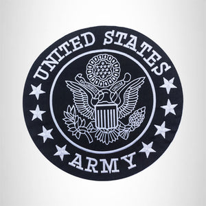"US Army Center Patch Circle United States Army Black w/ White 10"" White Trim"
