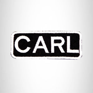 CARLA Black and White Name Tag Iron on Patch for Biker Vest and Jacket NB279
