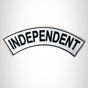 INDEPENDENT Black on White Iron on Top Rocker Patch for Biker Vest Jacket