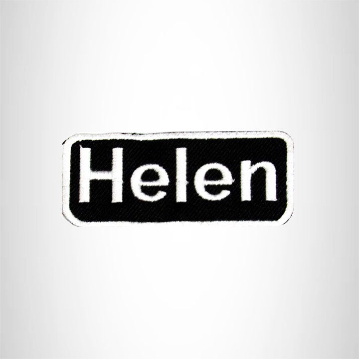 Helen White on Black Iron on Name Tag Patch for Biker Vest NB118