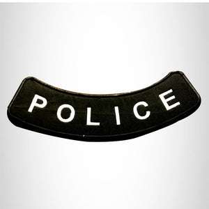 POLICE White on Black Bottom Rocker Patch for Vest Jacket BR379