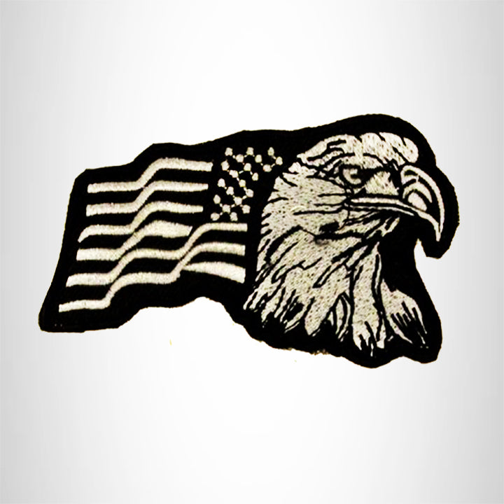 Eagle and flag White on Black Small Patch Iron on for Biker Vest SB733