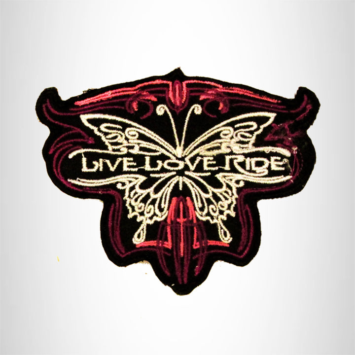 Live Love Ride Red and White on Black Small Patch Iron on for Biker Vest SB732