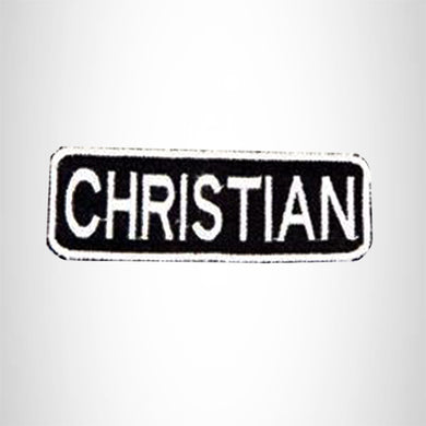 CHRISTAIN White on Black Iron on Name Tag Patch for Biker Vest NB208