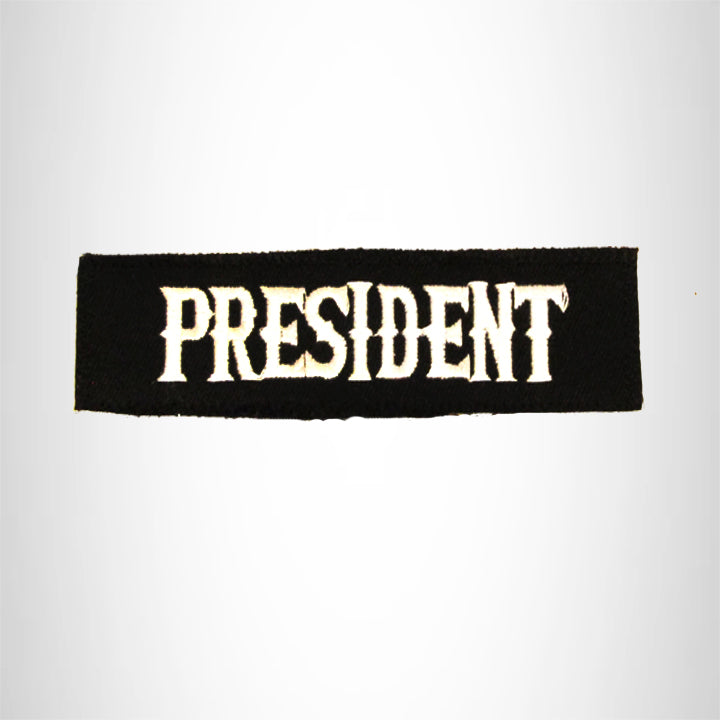 President White on black Small Patch Iron on for Biker Vest SB747