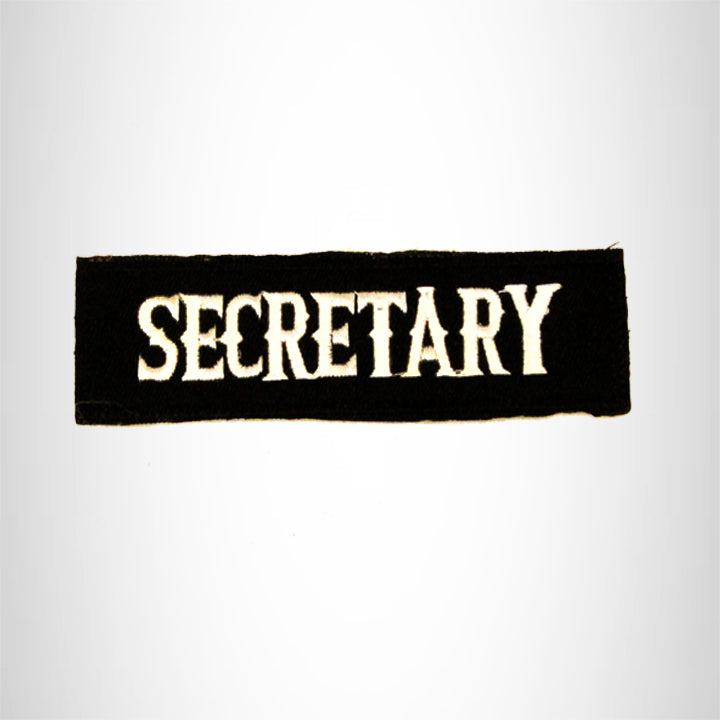 SECRETARY White on black Small Patch Iron on for Biker Vest SB746