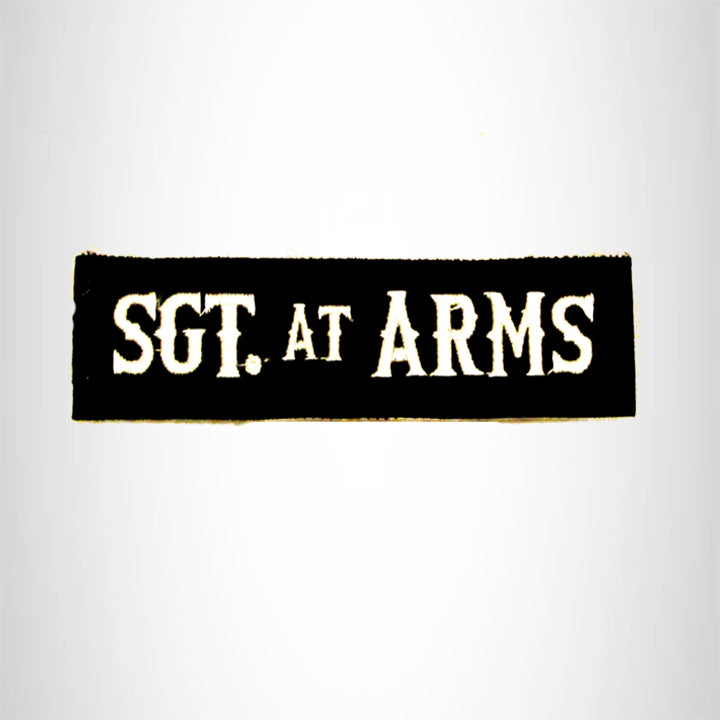 SGT. at ARMS White on black Small Patch Iron on for Biker Vest SB749
