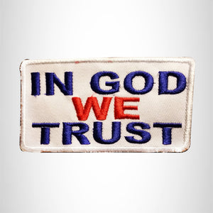 In God We Trust Blue and Red on White Small Patch Iron on for Biker Vest SB800
