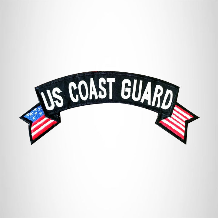 U.S COAST GUARD USA Flag Banner Iron on Top Rocker Patch for Biker Vest Jacket