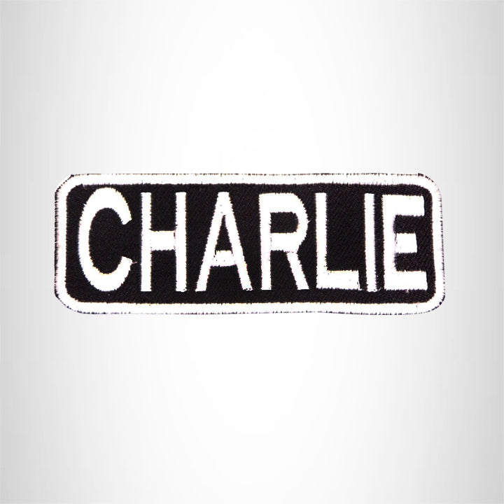 CHARLIE White on Black Iron on Name Tag Patch for Biker Vest NB207