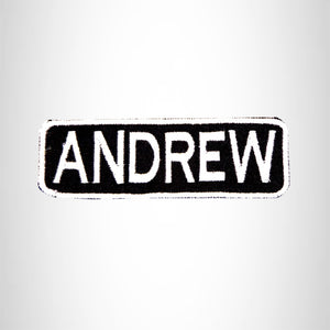 ANDREW White on Black Iron on Name Tag Patch for Biker Vest NB198
