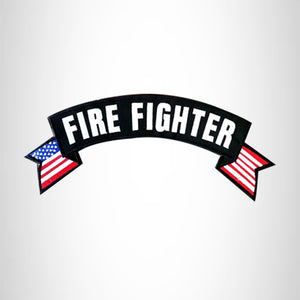 FIRE FIGHTER USA Flag Banner Iron on Top Rocker Patch for Biker Vest Jacket