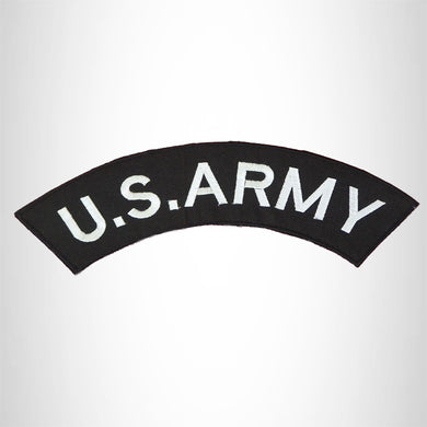 U.S ARMY White and Black Iron on Top Rocker Patch for Biker Vest Jacket TR200