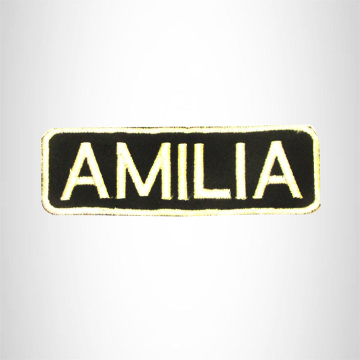 AMILIA White on Black Iron on Name Tag Patch for Biker Vest NB270
