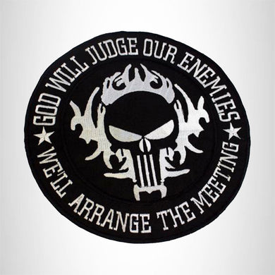 GOD WILL JUDGE OUR ENEMIES Iron on Center Patch for Biker Vest CP214