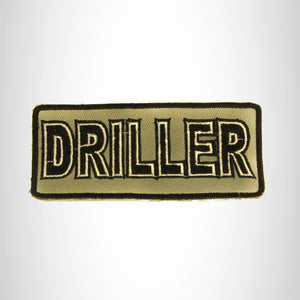 DRILLER Black on Gray Iron on Small Patch for Biker Vest SB839