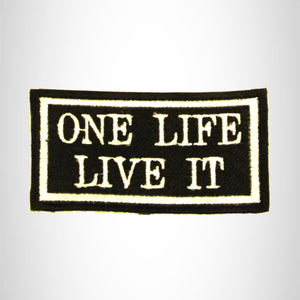 ONE LIFE LIVE IT White on black Iron on Small Patch for Biker Vest SB841