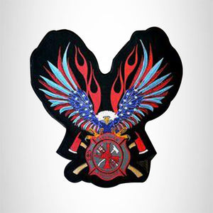 American Fire Fighter Red White & Blue Flaming Eagle Center Patch for Biker Vest