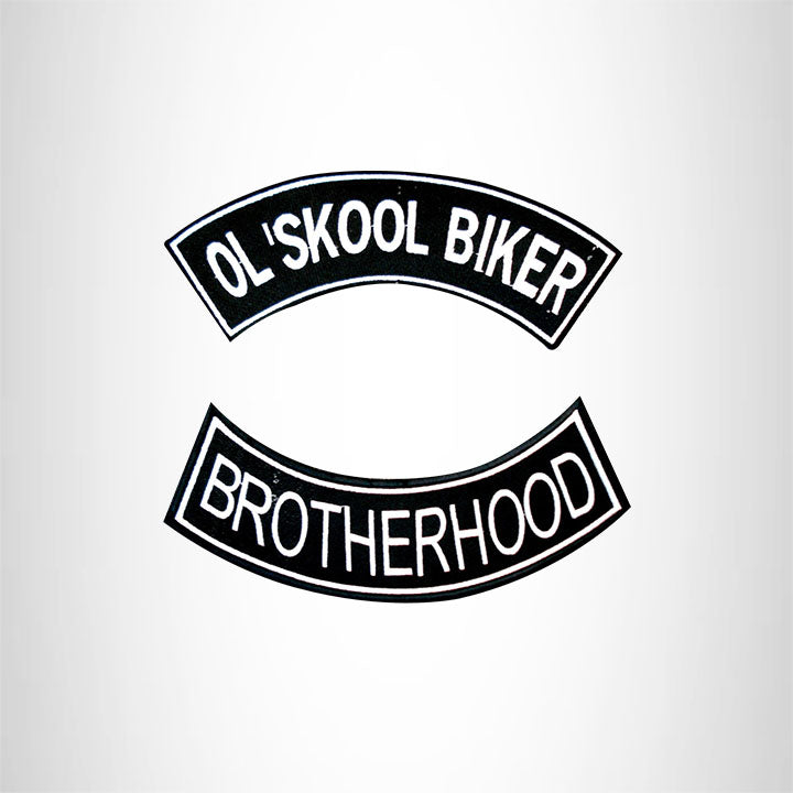 Ol' Skool Biker Brotherhood 2 Patches Set Sew on for Vest Jacket