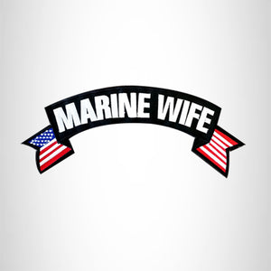 MARINE WIFE USA Flag Banner Iron on Top Rocker Patch for Biker Vest Jacket
