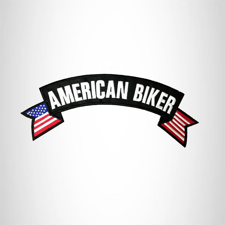 AMERICAN BIKER USA Flag Banner Iron on Top Rocker Patch for Biker Vest Jacket