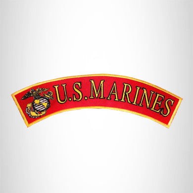 U.S MARINES Gold and Black on Red Insignia Top Rocker Patch for Biker Vest Jacket