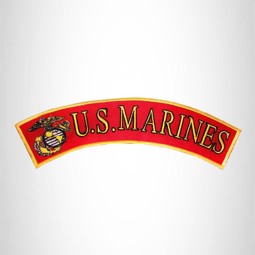 bottom rocker motorcycle patch US Marines patch Red yellow and black