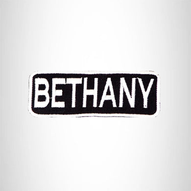 BETHANY Black and White Name Tag Iron on Patch for Biker Vest and Jacket NB277