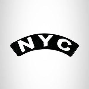 NYC State White on Black Small Rocker Patch Front for Biker Jacket Vest
