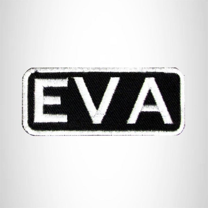 Eva White on Black Iron on Name Tag Patch for Biker Vest NB127