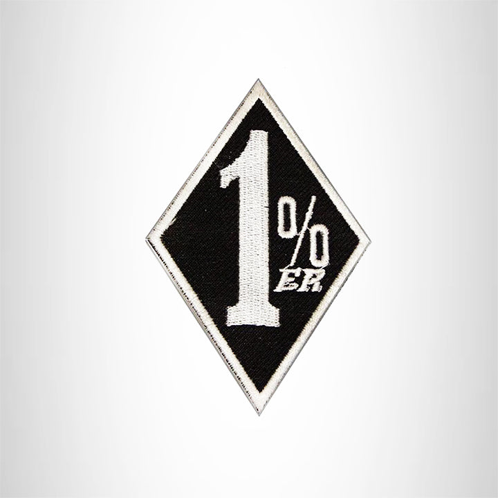 Small Patch 1 % White and Black Iron on for Biker Vest SB879