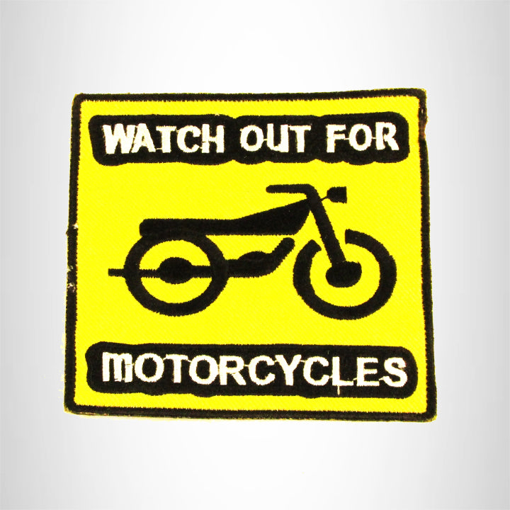 WATCH OUT FOR MOTORCYCLE Iron on Small Patch for Biker Vest SB885