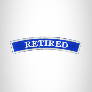 RETIRED White and Blue Iron on Small Patch for Biker Vest SB884