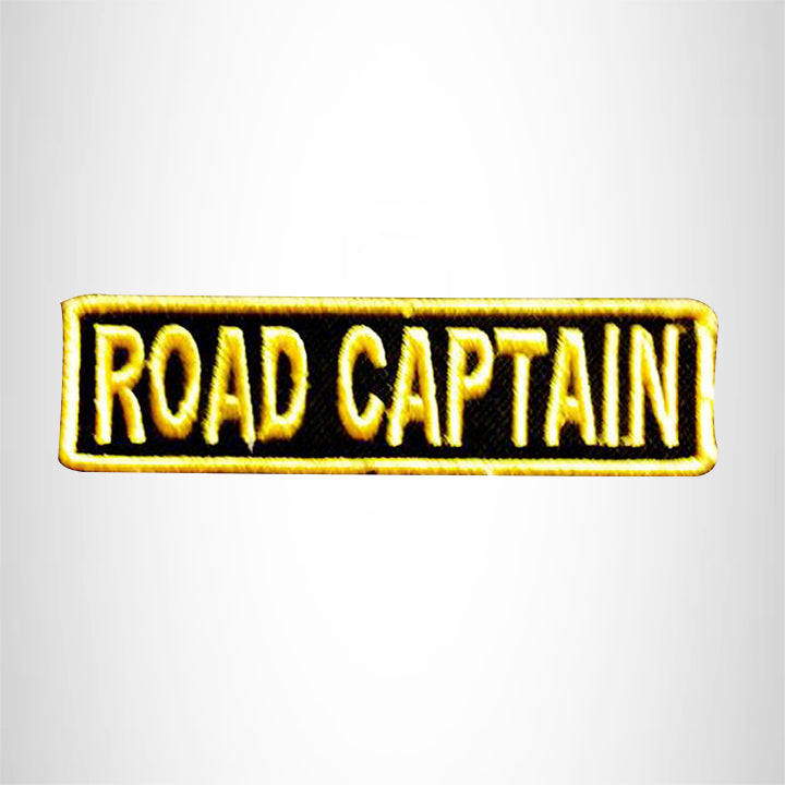 ROAD CAPTAIN YELLOW ON BLACK Small Patch Iron on for Vest Jacket SB599