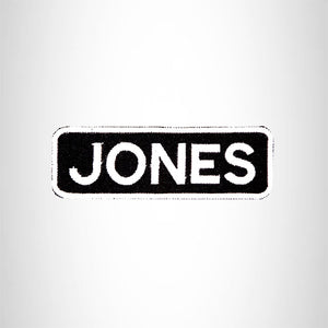 JONES Black and White Name Tag Iron on Patch for Biker Vest and Jacket NB229