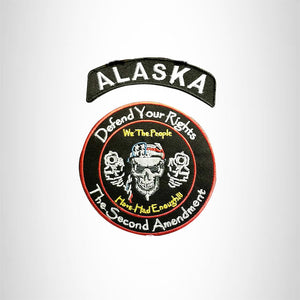 ALASKA Defend Your Rights the 2nd Amendment 2 Patches Set for Vest Jacket