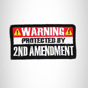 WARNING PROTECTED BY Iron on Small Patch for Biker Vest SB889