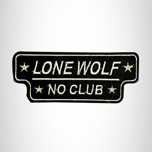 LONE WOLF NO CLUB White on Black Small Patch for Vest jacket SB629