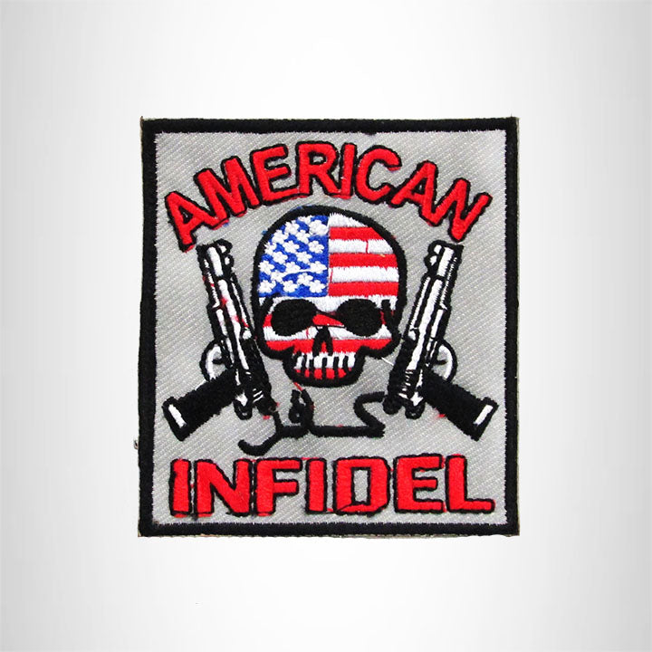 AMERICAN INFIDEL WITH SKULL Iron on Small Patch for Biker Vest SB892