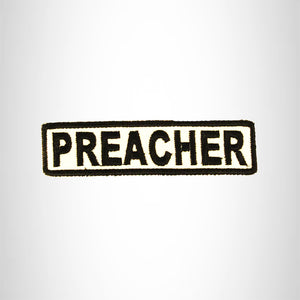 PREACHER Black on White Small Patch Iron on for Biker Vest SB688