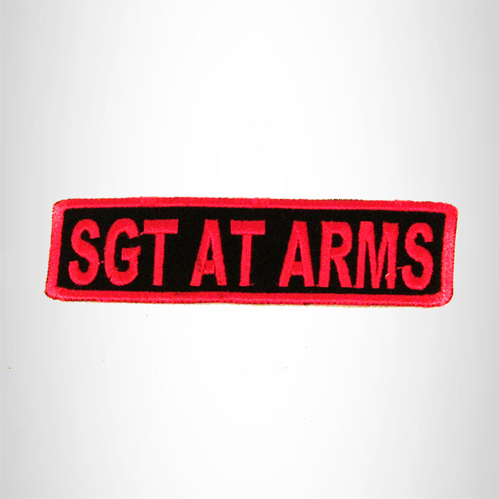 SGT AT ARMS Pink on Black Small Patch Iron on for Biker Vest SB744