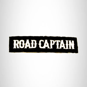 Road Captain White on Black Bold Small Patch Iron on for Biker Vest SB750