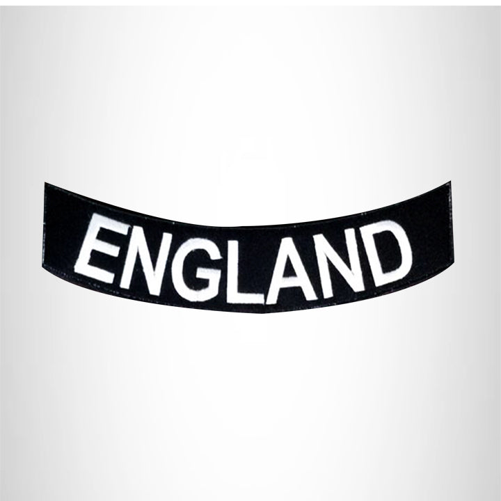ENGLAND White on Black Bottom Rocker Patch for Vest jacket BR387
